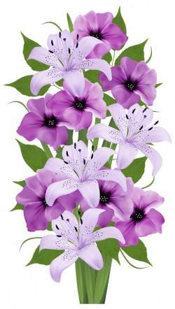 Purple Lilies Bouquet | Clip Art Everyday for Cards, Scrapbooking ...