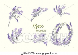 EPS Illustration - Floral lavender retro vintage background ...