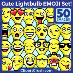 Cute Cartoon Light Bulb Emoji Clipart Faces / Lightbulb Idea Emojis Emotions