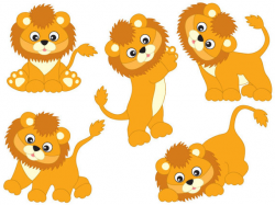 Lions Clipart - Digital Vector Safari, African, Animal, Lion, Baby ...
