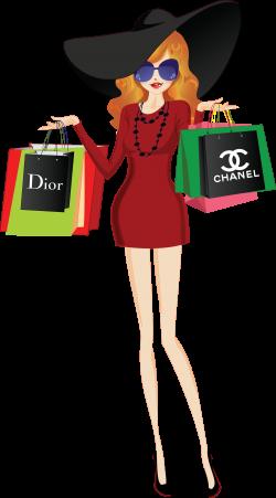 Shopping Girls Clipart digital Paper,illustration planner shopping ...
