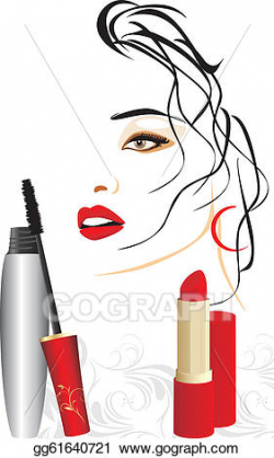Clip Art Vector - Mascara and red lipstick. Stock EPS ...