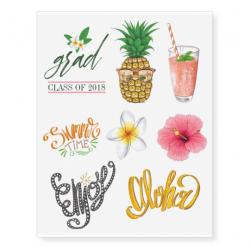 Hawaiian Aloha Luau Graduation Party Guest Favor Temporary Tattoos