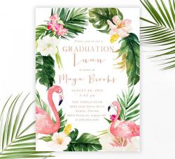 Graduation Luau Party Invitation, Flamingo Graduation Party ...