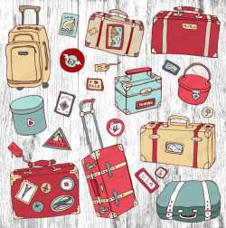 22 Luggage Clipart, Digital Suitcase, travel bag clipart, travelling ...