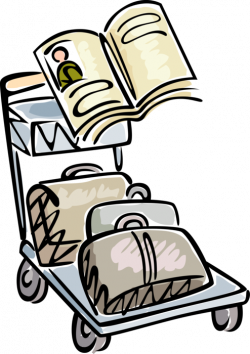 Travel Luggage on Airport Baggage Cart - Vector Image