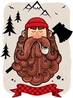 Lumberjack - Vector Cartoon Illustration. lumberman, woodsman, axeman, man,  chopper, logger, logging, hipster, mountaineer, beard, portrait,