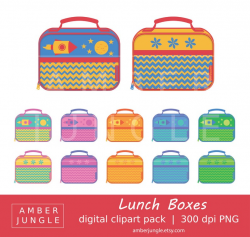 Lunch Box Clipart - Instant Download! Soft Cloth Lunch Box Clip Art  Lunchbox Tote Bag Sack School Scrapbook Printables Planner Stickers Note