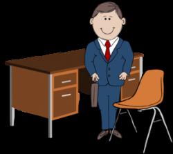 Teacher / Manager Between Chair And Desk Clip Art at Clker.com ...