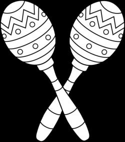 Two Maracas Line Art - Free Clip Art
