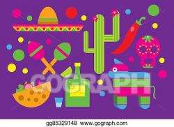 Drawing - Mexico icons, cactus, sombrero, maracas, tequila ...