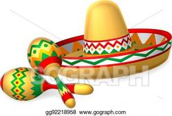 Vector Art - Mexican sombrero hat and maracas shakers ...