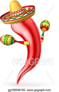 EPS Vector - Cartoon chilli pepper with maracas and sombrero ...