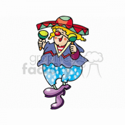 A Happy Clown dancing and Wearing a sombrero Playing the Maracas clipart.  Royalty-free clipart # 156680