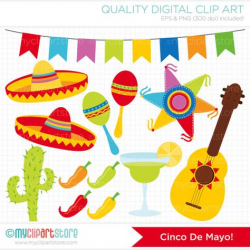 This CINCO DE MAYO clipart has maracas, flag bunting ...