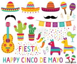 Cinco de Mayo set (sombreros, pinatas, a guitar, maracas and ...