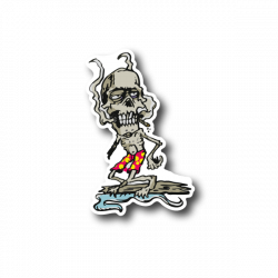 Zombie Smoking Joint And Surfing Sticker | Vinyl Stickers ...
