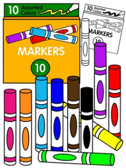 MARKER CLIPART * COLOR AND BLACK AND WHITE by Molly Tillyer | TpT