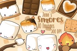 Kawaii Smores Clipart | Cartoon foods | Cute marshmallows ...