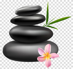 Pile of four black stones and pink 6-petaled flower ...