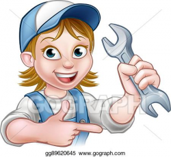 Vector Clipart - Mechanic or plumber woman cartoon character ...