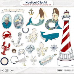 Mermaid ClipArt & Sailor Illustration, Nautical Lighthouse Image, Beach  Digital Graphics, Under the Sea Party Clip Art, Summer Vacation, png