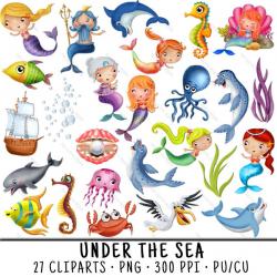 Nautical Clipart, Mermaid Clipart, Nautical Clip Art, Mermaid Clip Art,  Mermaid PNG, Under The Sea PNG, Mermaid PNG, Under The Sea