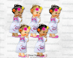 Mexican Embroidered Dress Flower Head Wreath Hot Pink Orange Yellow Mexico  | Vintage Baby Girl 4 Skin Tones | Clipart Instant Download