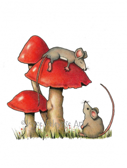 Sleeping Mouse, Hand Drawn Clipart, Mice and Toadstools, Two ...