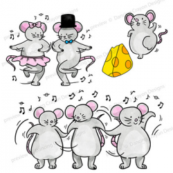 Clip Art of Dancing Mice | Clipart Mouse Dance by Dancing Crayon Designs