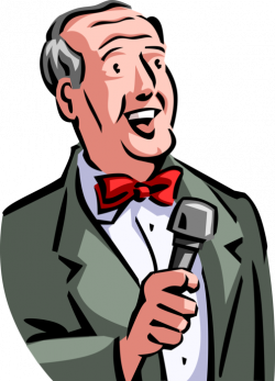 Master of Ceremonies Host with Microphone - Vector Image
