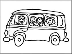 Clip Art: Cute MiniVan B&W I abcteach.com | abcteach