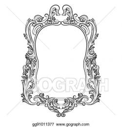 Vector Clipart - Baroque rococo mirror frame. Vector ...