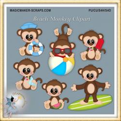 Summer Clipart, Beach Monkey