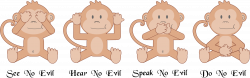 Clipart - The Four Wise Monkeys