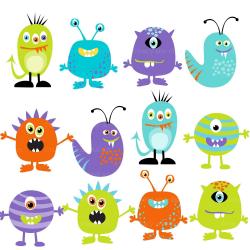 Monster Clipart Digital Monsters - Set of 12 (Set 2) | Monsters ...