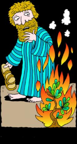 Image: Moses Removing Sandals Before Burning Bush | Exodus ...
