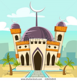 vector cartoon mosque building with date palms and city ...
