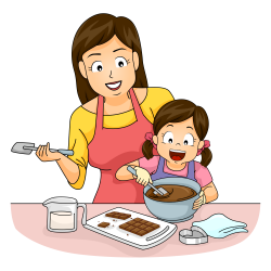 Cooking Mother Baking Clip art - Mother and daughter make chocolate ...