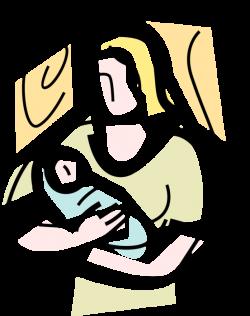 Nurturing Mother with Newborn Infant - Vector Image