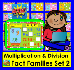 Boom Cards Math Multiplication & Division Fact Families: Level 2: 28 Cards