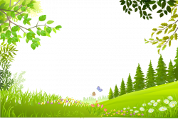 Nature Landscape - Cartoon trees plants green grass ...