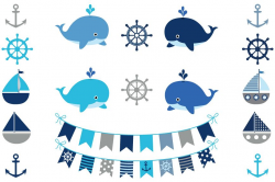 Gray nautical clipart set, Whales, boats, anchors, helms