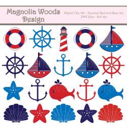 Nautical Clip Art, Red and Blue Nautical Clip Art, Sailboat ...