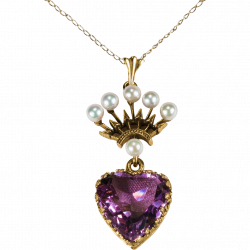 Amethyst Heart Necklace - clipart