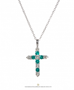 Emerald Cross Necklace - clipart