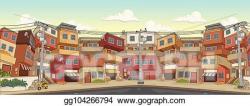 Clip Art Vector - Street of poor neighborhood in the city ...