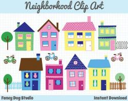 So Cute! House Clip Art Neighborhood Clipart by ...