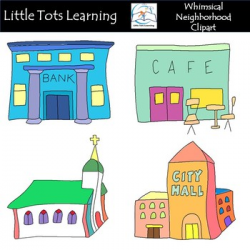 Neighborhood Clip Art - Town Clip Art - Whimsical Town Clip Art