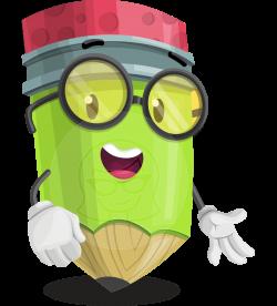 Vector Pencil Cartoon Character - Woody the Nerdy Pencil ...